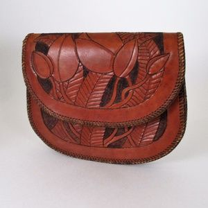 Vtg 70s Tooled Leather Clutch Handmade Large Boho